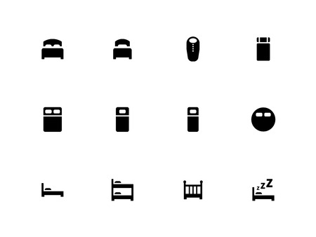 twin bed: Bed icons on white background. Illustration