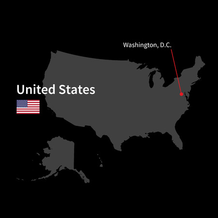 Detailed Map Of United States And Capital City Washington With - Map of us black