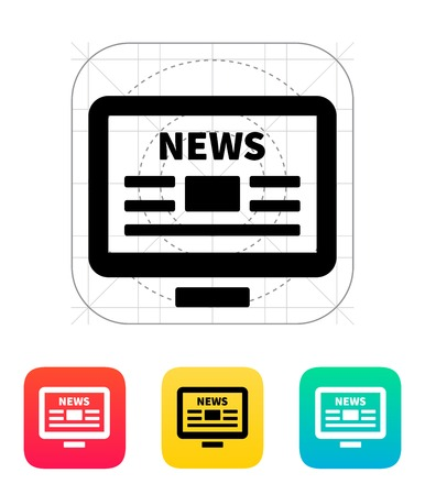 online news: Online news. Desktop PC newspaper icon. Illustration