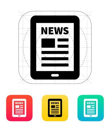 タブレット PC 新聞アイコン。  イラスト・ベクター素材