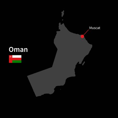 western asia: Detailed map of Oman and capital city Muscat with flag on black background