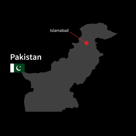 islamabad: Detailed map of Pakistan and capital city Islamabad with flag on black background