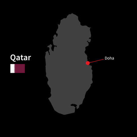 doha: Detailed map of Qatar and capital city Doha with flag on black background