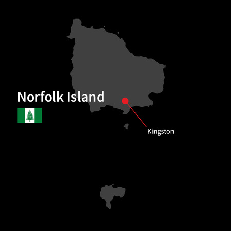 kingston: Detailed map of Norfolk Island and capital city Kingston with flag on black background