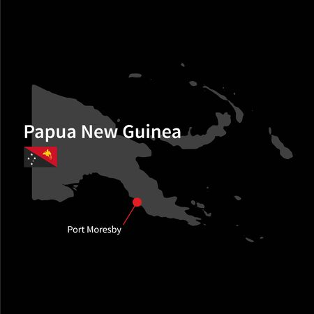 black background: Detailed map of Papua New Guinea and capital city Port Moresby with flag on black background