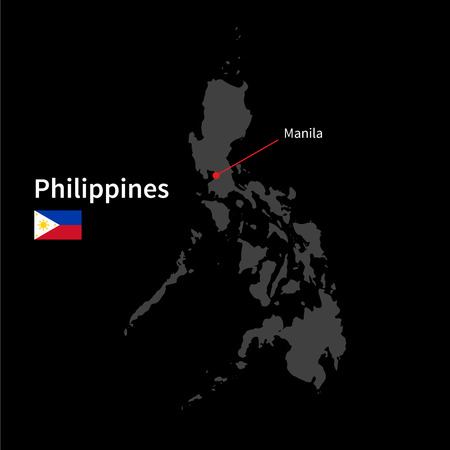 manila: Detailed map of Philippines and capital city Manila with flag on black background