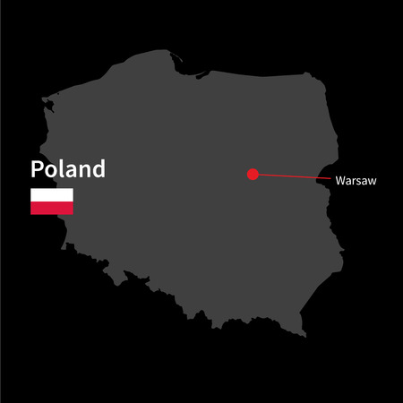 warsaw: Detailed map of Poland and capital city Warsaw with flag on black background