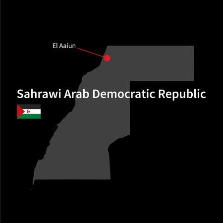 sahrawi arab democratic republic: Detailed map of Sahrawi Arab Democratic Republic and capital city El Aaiun with flag on black background