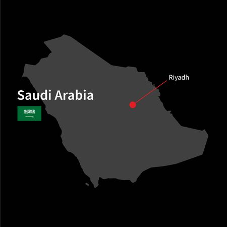 western asia: Detailed map of Saudi Arabia and capital city Riyadh with flag on black background