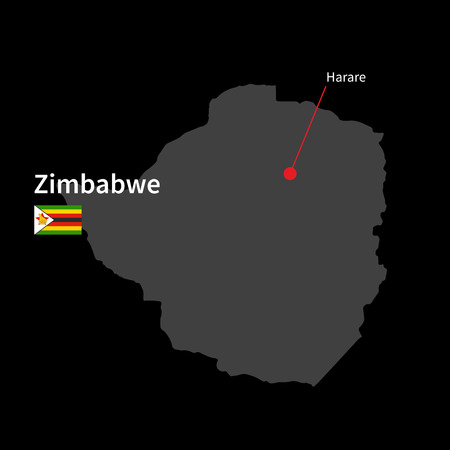 Detailed map of Zimbabwe and capital city Harare with flag on black background Vector
