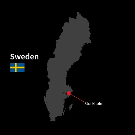 design element: Detailed map of Sweden and capital city Stockholm with flag on black background