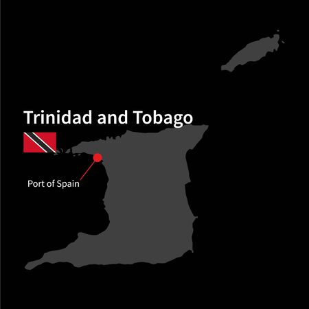 port of spain: Detailed map of Trinidad and Tobago and capital city Port of Spain with flag on black background