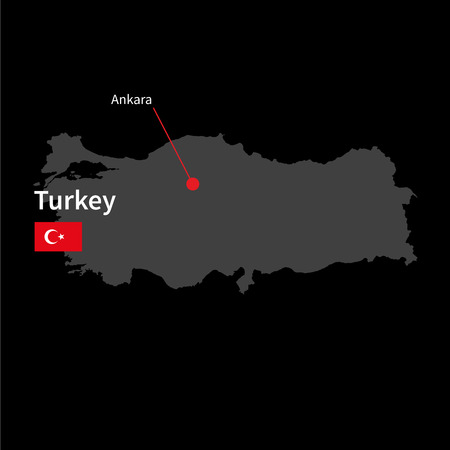 western asia: Detailed map of Turkey and capital city Ankara with flag on black background