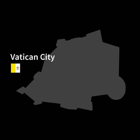 vatican city: Detailed map of Vatican City with flag on black background