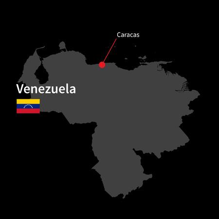 caracas: Detailed map of Venezuela and capital city Caracas with flag on black background Illustration