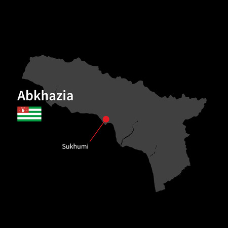 sukhumi: Detailed map of Abkhazia and capital city Sukhumi with flag on black background