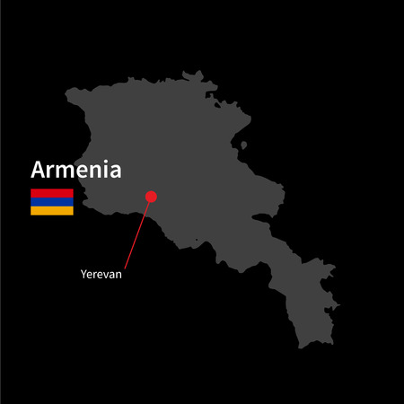 yerevan: Detailed map of Armenia and capital city Yerevan with flag on black background