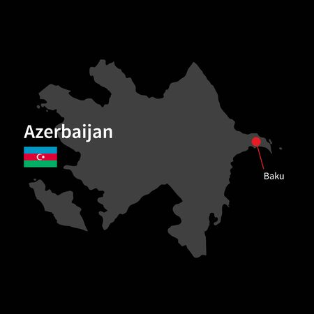 western asia: Detailed map of Azerbaijan and capital city Baku with flag on black background Illustration