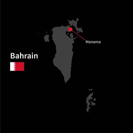 western asia: Detailed map of Bahrain and capital city Manama with flag on black background Illustration