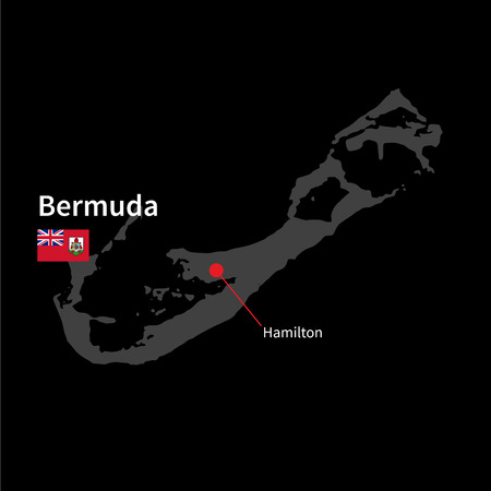 hamilton: Detailed map of Bermuda and capital city Hamilton with flag on black background Illustration
