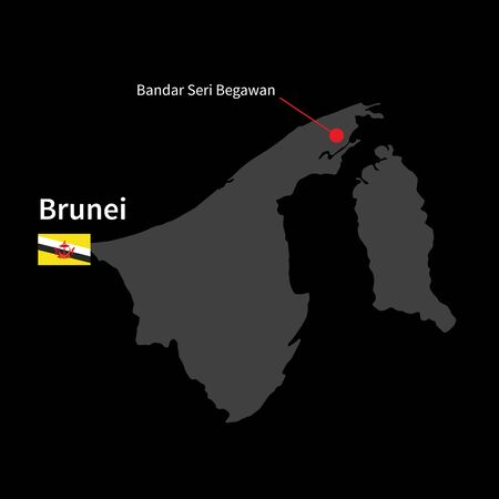 map of brunei: Detailed map of Brunei and capital city Bandar Seri Begawan with flag on black background