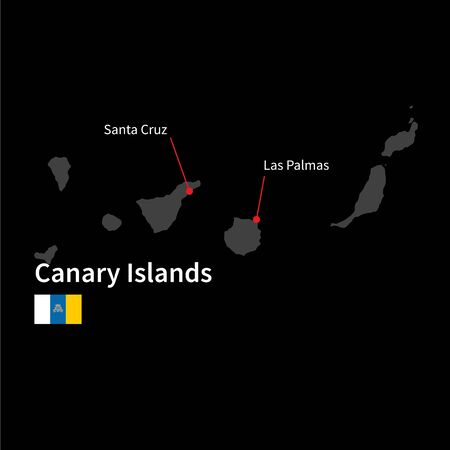 canary: Detailed map of Canary Islands and capital city Santa Cruz with flag on black background