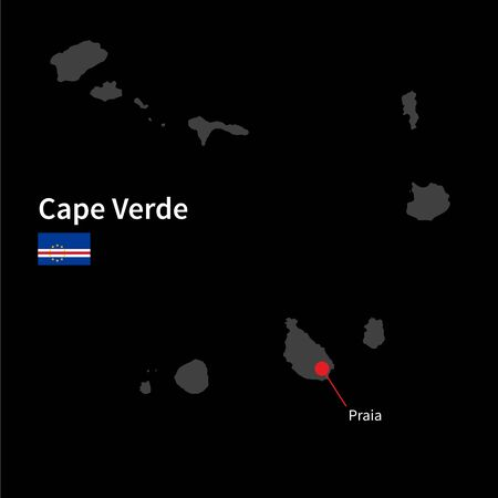 praia: Detailed map of Cape Verde and capital city Praia with flag on black background Illustration