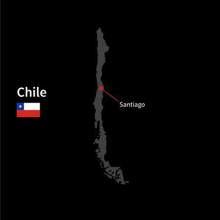 santiago: Detailed map of Chile and capital city Santiago with flag on black background