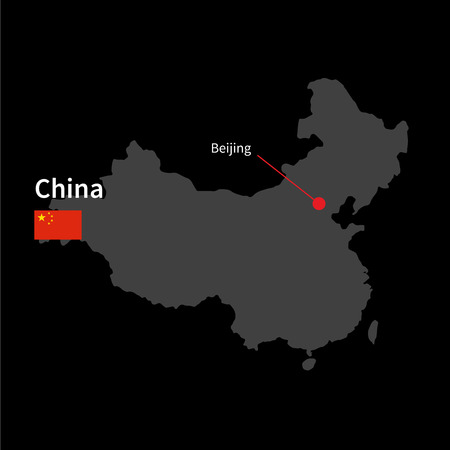 beijing: Detailed map of China and capital city Beijing with flag on black background