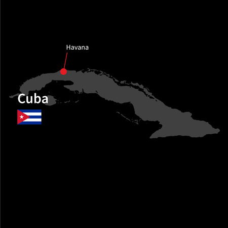 havana cuba: Detailed map of Cuba and capital city Havana with flag on black background