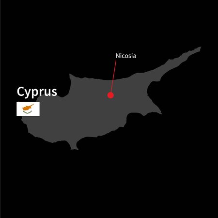 western asia: Detailed map of Cyprus and capital city Nicosia with flag on black background