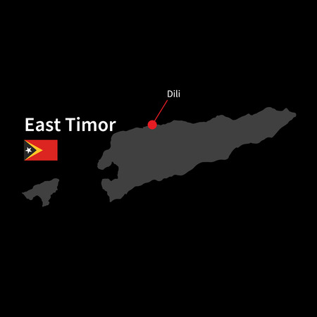 timor: Detailed map of East Timor and capital city Dili with flag on black background