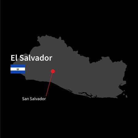 mapa de el salvador: Mapa detallado de El Salvador y la ciudad capital de San Salvador con la bandera en el fondo negro