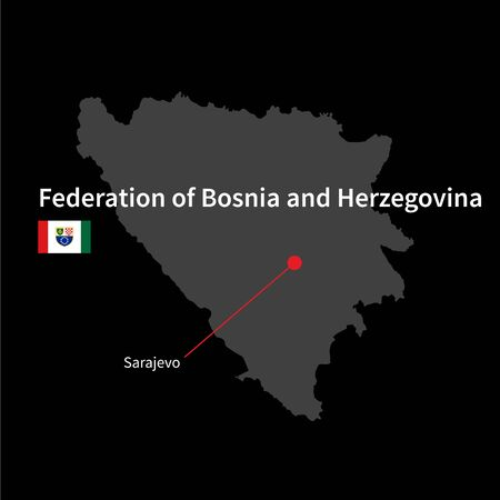 federation: Detailed map of Federation of Bosnia and Herzegovina and capital city Sarajevo with flag on black background