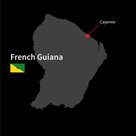 cayenne: Detailed map of French Guiana and capital city Cayenne with flag on black background Illustration