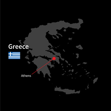 athens: Detailed map of Greece and capital city Athens with flag on black background