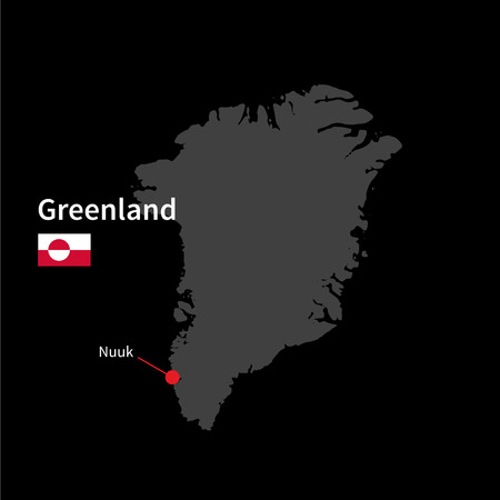 nuuk: Detailed map of Greenland and capital city Nuuk with flag on black background Illustration