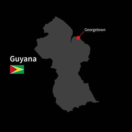 georgetown: Detailed map of Guyana and capital city Georgetown with flag on black background