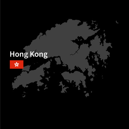 Detailed map of Hong Kong with flag on black background Çizim