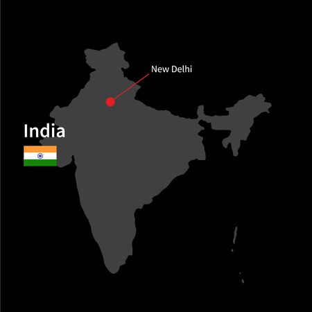 india city: Detailed map of India and capital city New Delhi with flag on black background