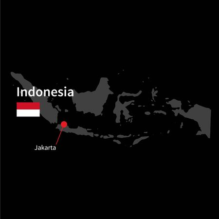 jakarta: Detailed map of Indonesia and capital city Jakarta with flag on black background