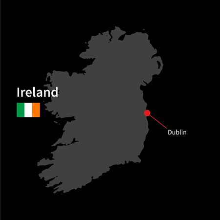 ireland cities: Detailed map of Ireland and capital city Dublin with flag on black background