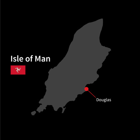 isle: Detailed map of Isle of Man and capital city Douglas with flag on black background