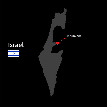 israel jerusalem: Detailed map of Israel and capital city Jerusalem with flag on black background Illustration