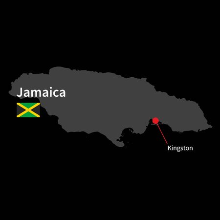 kingston: Detailed map of Jamaica and capital city Kingston with flag on black background Illustration