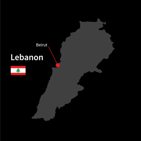 western asia: Detailed map of Lebanon and capital city Beirut with flag on black background