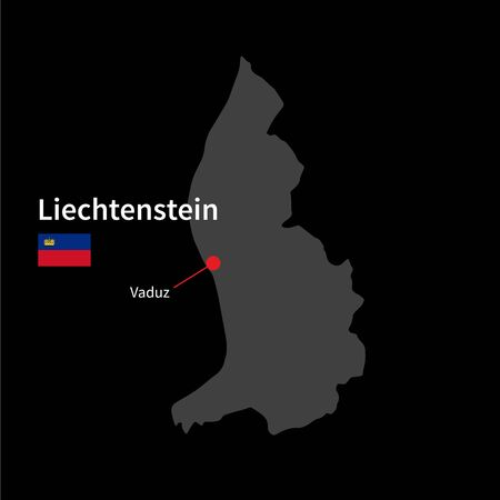Detailed map of Liechtenstein and capital city Vaduz with flag on black background Vector
