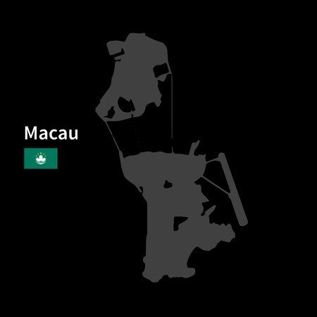 far east: Detailed map of Macau with flag on black background Illustration