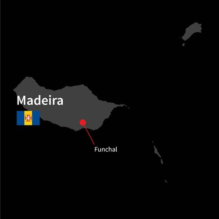 madeira: Detailed map of Madeira and capital city Funchal with flag on black background