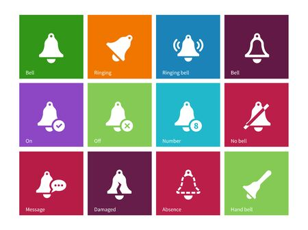 Alarm bell icons on color background.